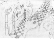Through the Looking Glass background concept sketch